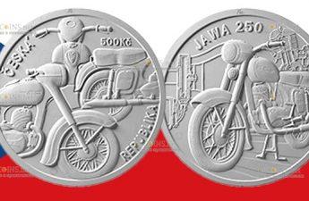 Чехия монета 500 крон Мотоцикл Jawa 250