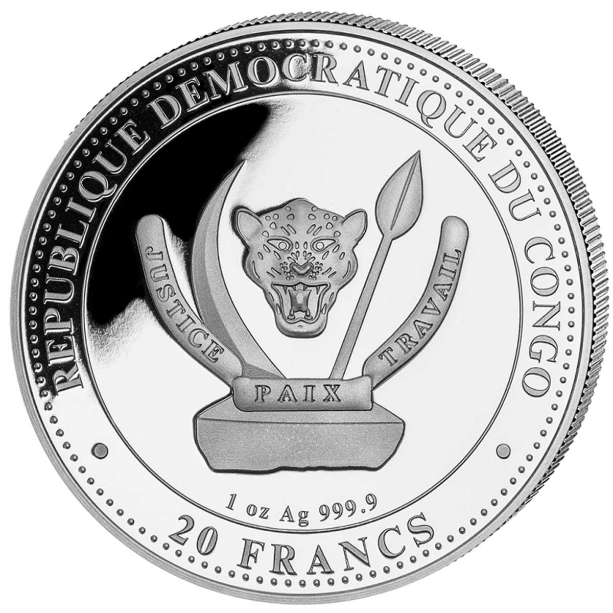 Демократическая Республики Конго монетfу 20 франков, аверс