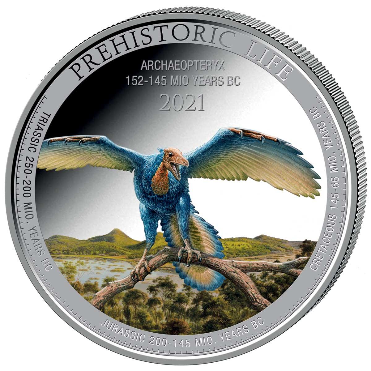 Демократическая Республики Конго выпустила монету 20 франков + цвет Археоптерикс, реверс