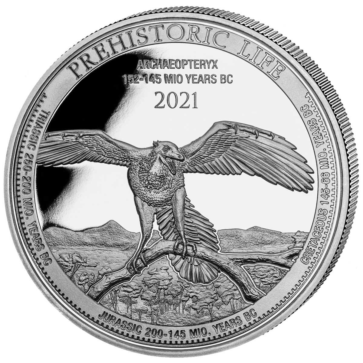 Демократическая Республики Конго выпустила монету 20 франковт Археоптерикс, реверс
