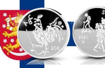 Финляндия монета 20 евро 100-летию Закона об обязательном образовании в Финляндии