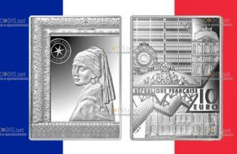 Франция монетау 10 евро Девушка с жемчужной серёжкой