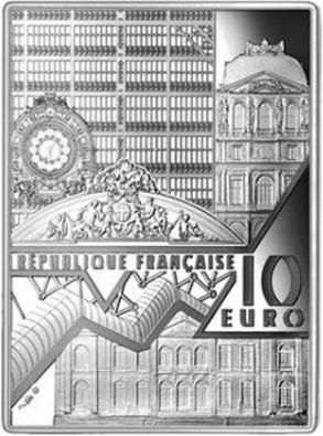 Франция монетау 10 евро Девушка с жемчужной серёжкой, аверс
