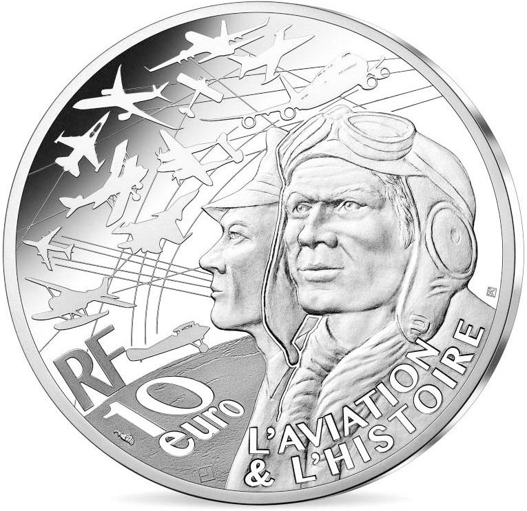 Франция монетау 10 евро Мустанг P51, аверс