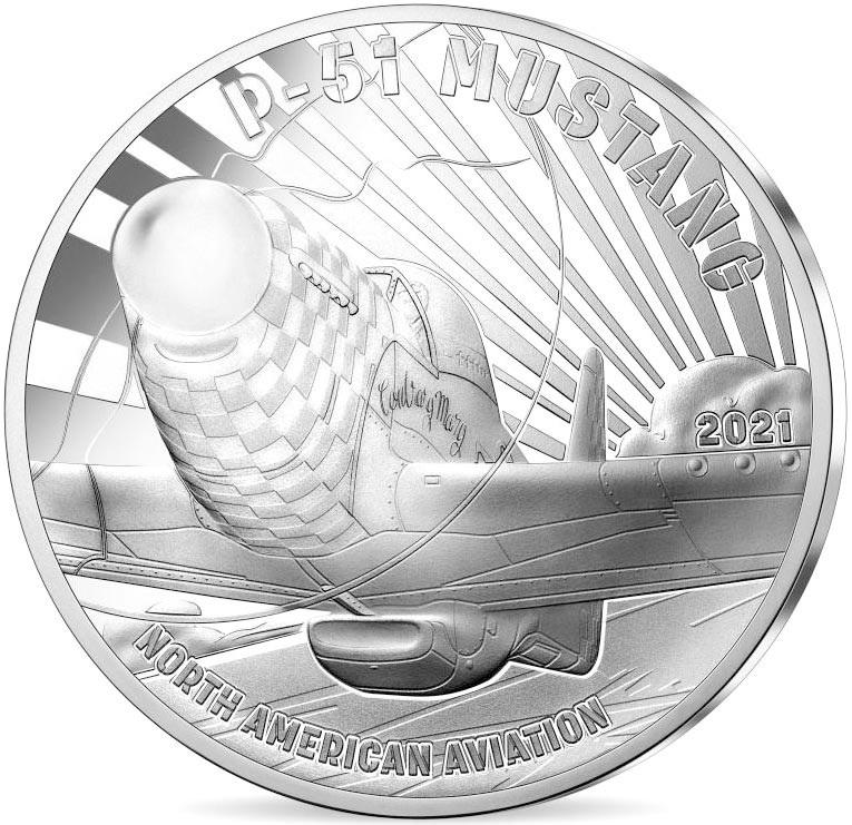 Франция монета 10 евро Мустанг P51, реверс