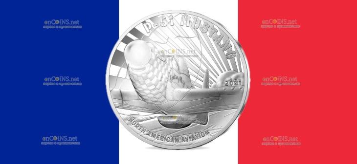 Франция монета 10 евро Мустанг P51