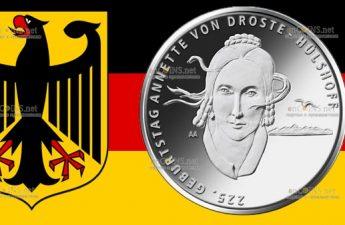 Германия монета 20 евро Аннетт фон Дросте-Хюльсхофф