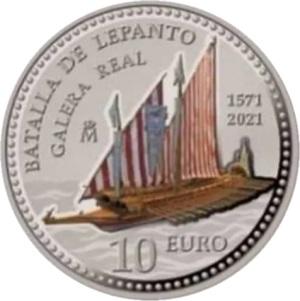 Испания 10 евро Битва при Лепанто, реверс