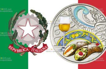 Италия монета 5 евро Сицилия, канноло и пассито