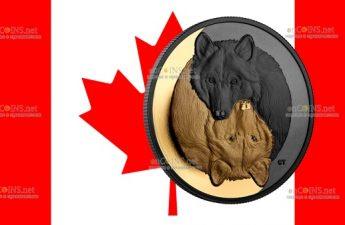 Канада монета 20 долларов Серый Волк