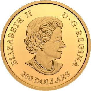 Канада монета 200 долларов Открытие инсулина, аверс