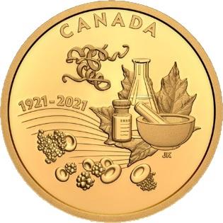Канада монета 200 долларов Открытие инсулина, реверс