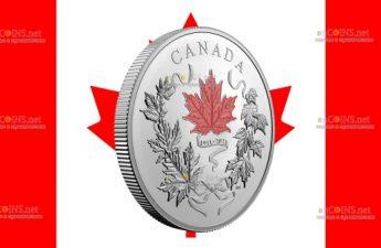 Канада отчеканила монету 100 долларов Наши национальные цвета