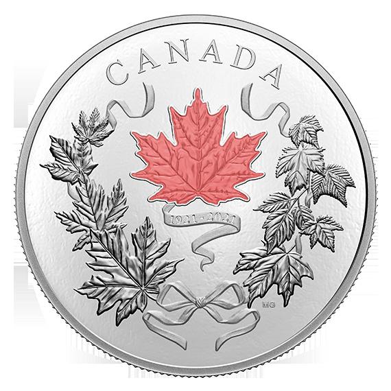 Канада отчеканила монету 100 долларов Наши национальные цвета, реверс