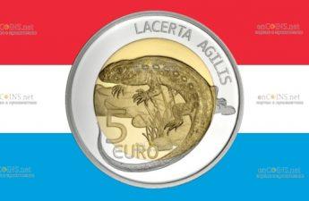Люксембург монета 10 евро Прыткая ящерица