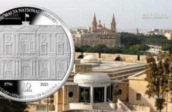 Мальта монета 10 евро к 225-летию Национальная библиотека Мальты