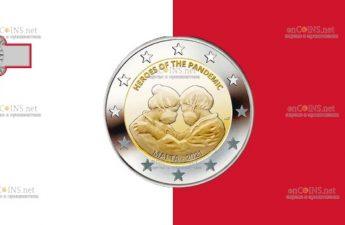 Мальта монета 2 евро Герои Пандемии