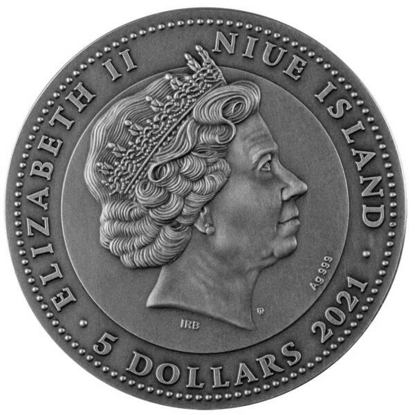Ниуэ монета 5 долларов Большой Барьерный риф, аверс