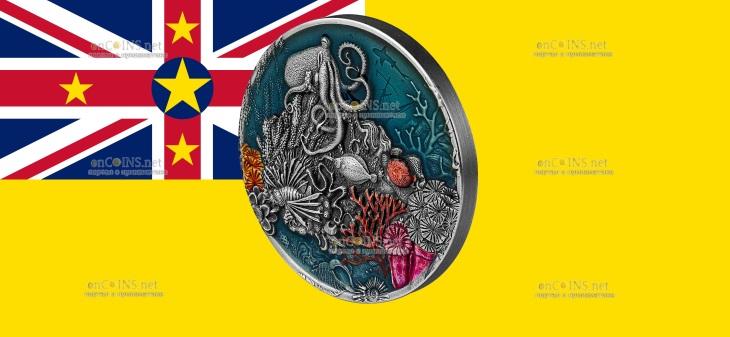 Ниуэ монета 5 долларов Большой Барьерный риф