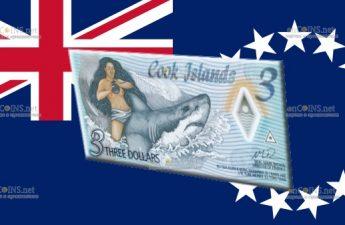 Острова Кука полимерная банкнота 3 доллара