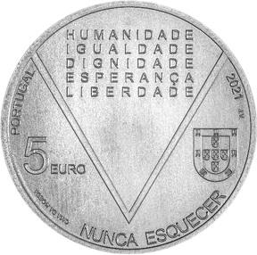 Португалия серебряная монета 5 евро Аристидеш де Соуза Мендеш, аверс