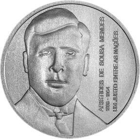 Португалия серебряная монета 5 евро Аристидеш де Соуза Мендеш, реверс