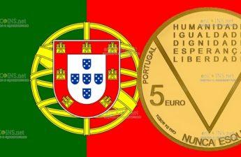 Португалия золотая монета 5 евро Аристидеш де Соуза Мендеш
