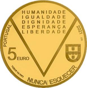 Португалия золотая монета 5 евро Аристидеш де Соуза Мендеш, аверс