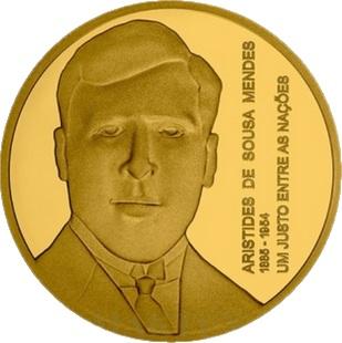 Португалия золотая монета 5 евро Аристидеш де Соуза Мендеш, реверс