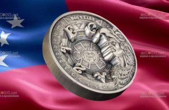 Самоа монета 25 долларов 500 лет со дня падении империи Ацтеков