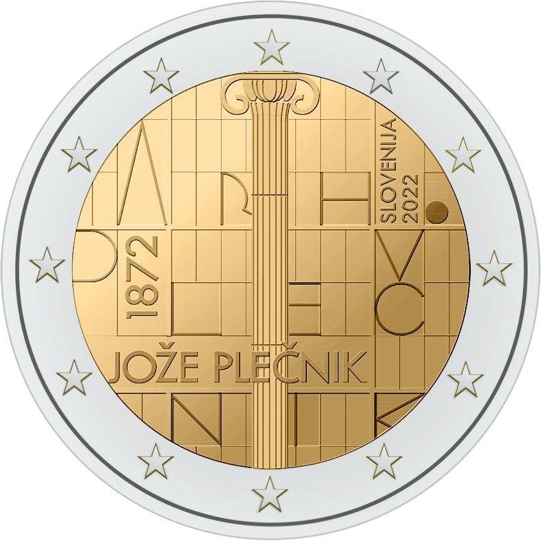 Словакия монета 2 евро Архитектор Йоже Плечник, реверс