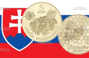 Словакия монета 5 евро Пчела