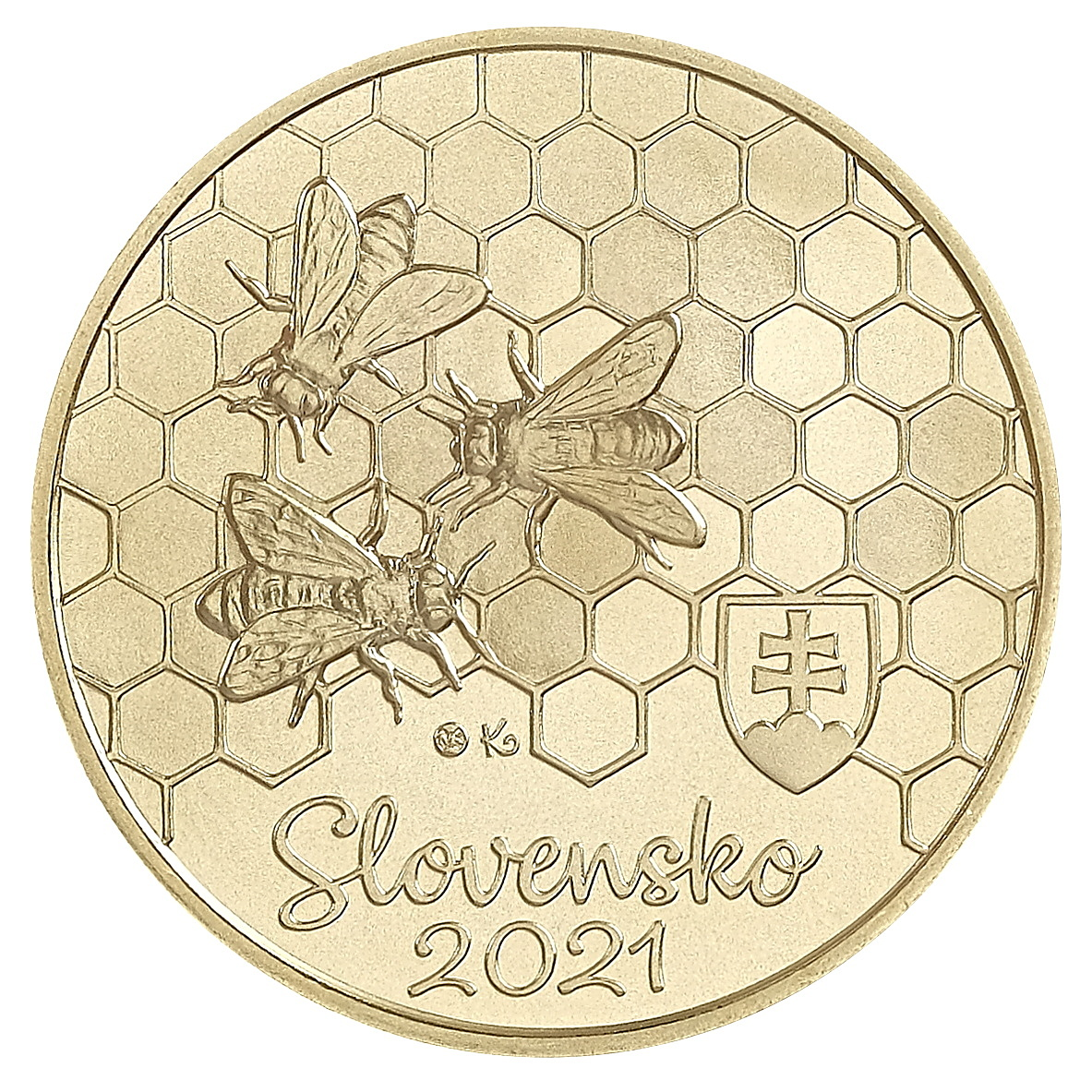 Словакия монета 5 евро Пчела, аверс