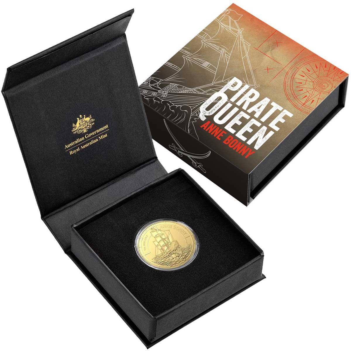 Соломоновы острова монета 100 долларов Энн Бонни, подарочная упаковка