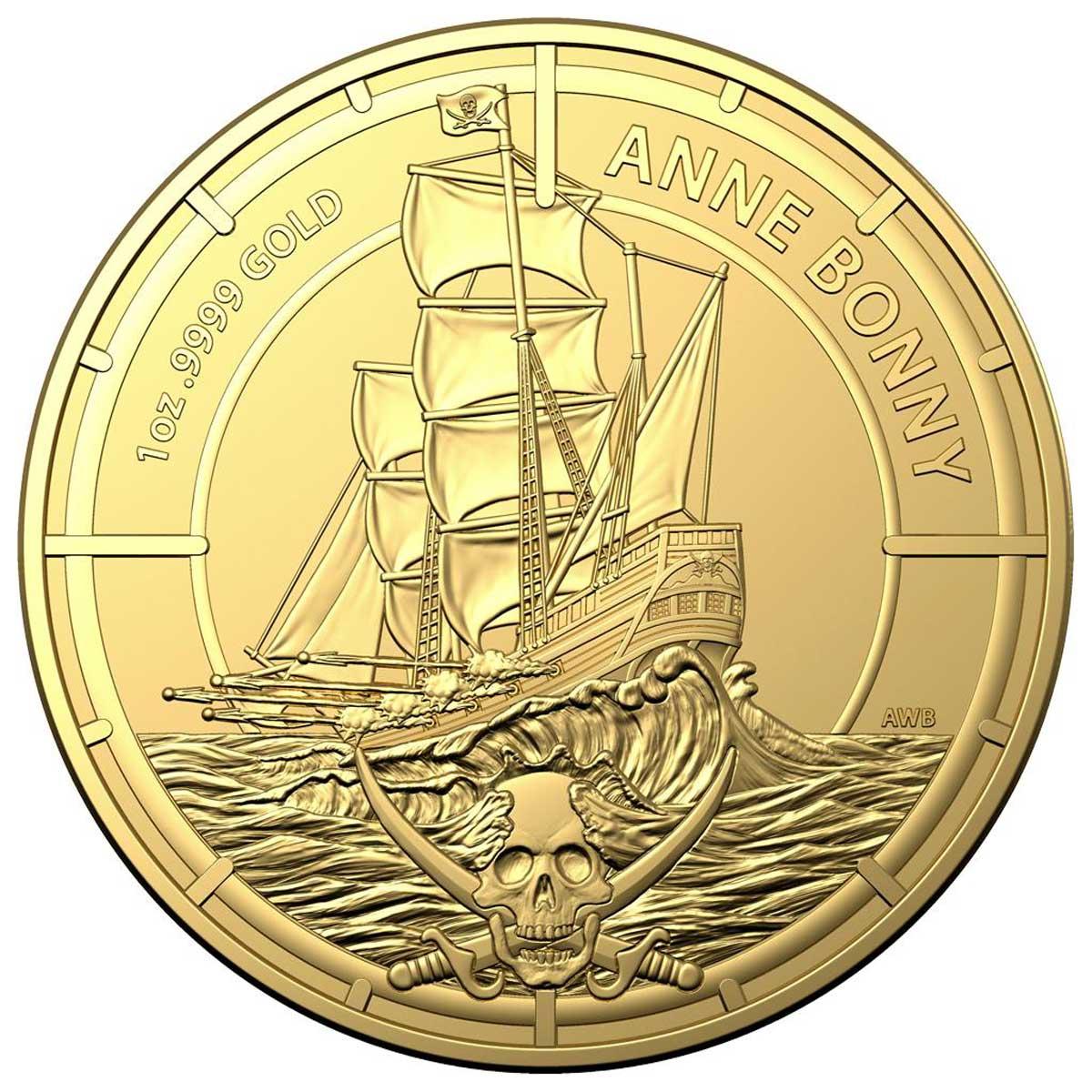 Соломоновы острова монета 100 долларов Энн Бонни, реверс