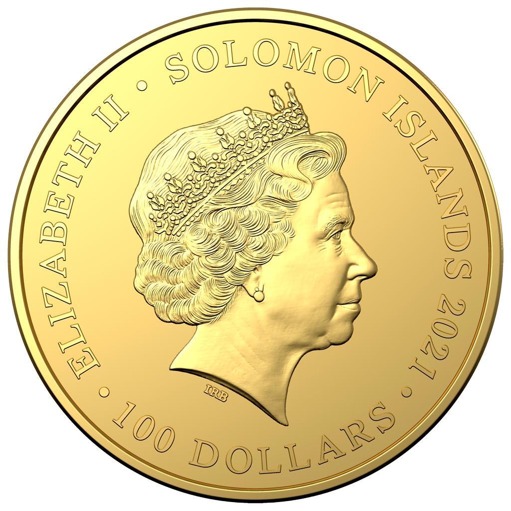 Соломоновы острова монета 100 долларов в серии Королева пиратов, аверс