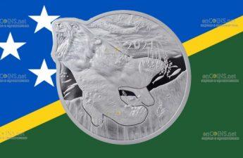 Соломоновы острова монета 5 долларов Белый медведь