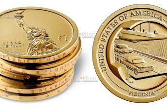 США монета 1 доллар Вирджиния