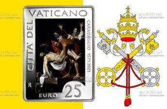 Ватикан монета 25 евро 450 лет со дня рождения Караваджо