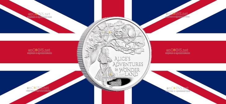 Великобритания монета 1 фунт Приключения Алисы в Стране чудес
