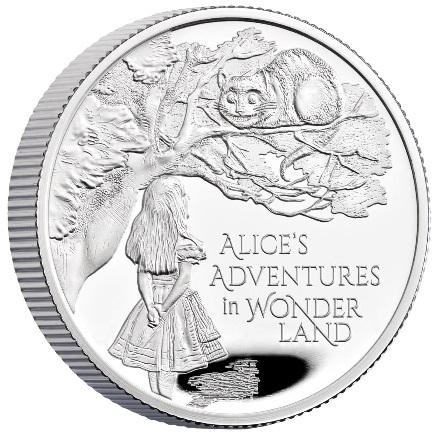 Великобритания монета 1 фунт Приключения Алисы в Стране чудес, реверс