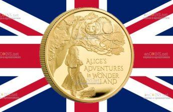 Великобритания монета 100 фунтов Приключения Алисы в Стране чудес