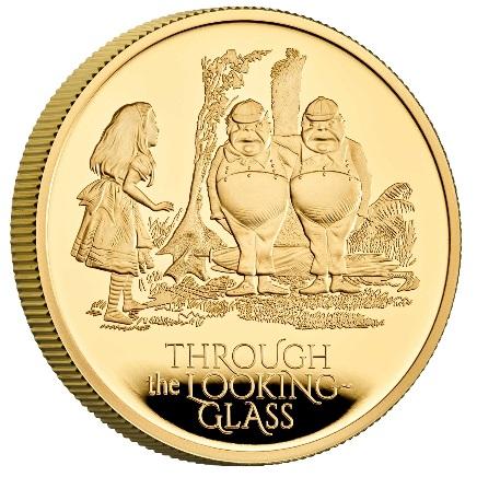 Великобритания монета 100 фунтов Зазеркалье, реверс