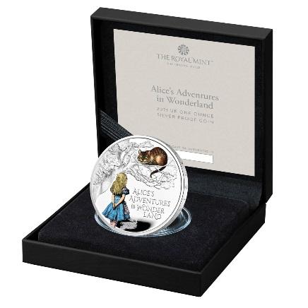 Великобритания монета 2 фунта Приключения Алисы в Стране чудес, подарочная упаковка