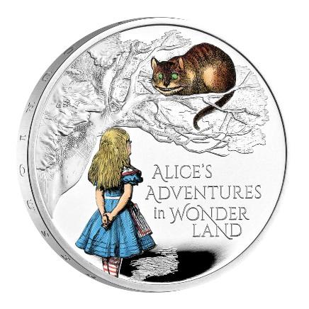 Великобритания монета 2 фунта Приключения Алисы в Стране чудес, реверс
