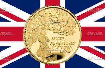 Великобритания монета 25 фунтов Приключения Алисы в Стране чудес