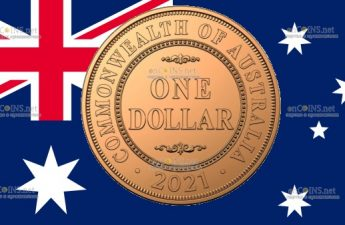 Австралия монет 1 доллар Текстовый дизайн