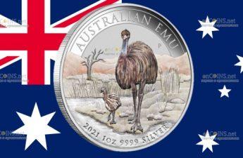 Австралия монета 1 доллар Птица Эму