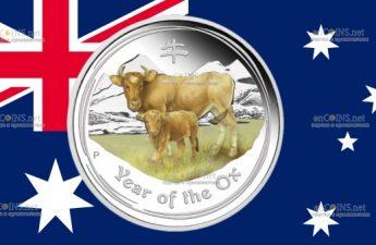 Австралия монета 2 доллара год Быка
