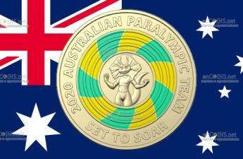 Австралия монета 2 доллара Паралимпийские игры в Токио